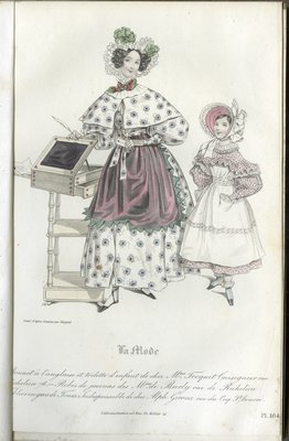 English-style Bonnet and Children's Ensemble, Fashion Plate from La Mode