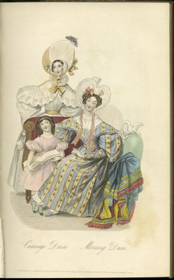 Carriage Dress and Morning Dress, Fashion Plate from La Belle Assemblée, or Bell's Court and Fashionable Magazine