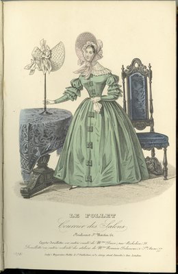 Cozy Bonnet of Quilted Satin from Madame Dasse, Fashion Plate from Le Follet