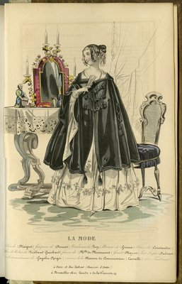 Woman with Fan, Fashion Plate from La Mode