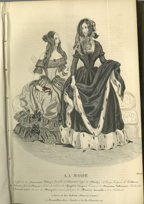 Two Women in Dresses, Fashion Plate from La Mode