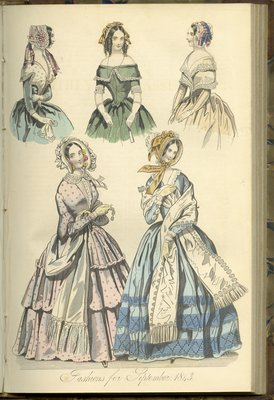 Fashions for September 1843, Fashion Plate from The New Monthly Belle Assemblée