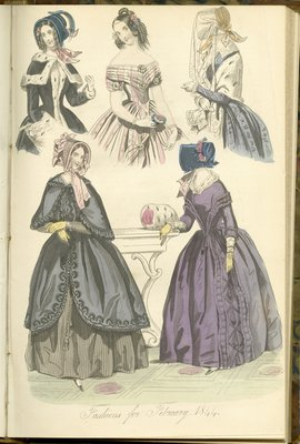 Fashions for February 1844, Fashion Plate from The New Monthly Belle Assemblée