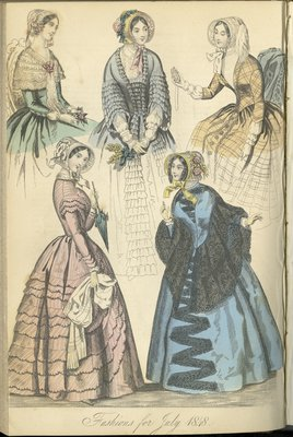 Fashions for July 1848, Fashion Plate from The New Monthly Belle Assemblée