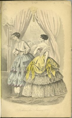 Fashions for January 1852, Fashion Plate from Peterson's Magazine