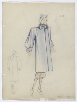Blue Coat with Pleated Collar
