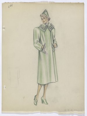 Green Coat with Square Lobed Collar