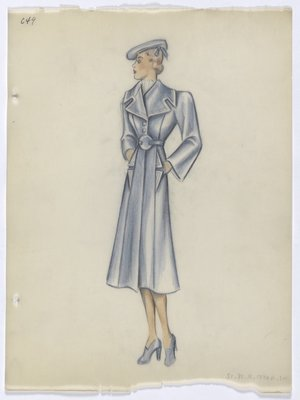 Blue Coat with Square Notched Collar
