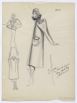 Coat with Tucks on Shoulder and Pocket