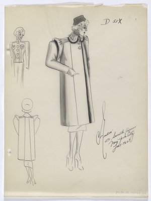 Coat with Tucks on Shoulder and Collar