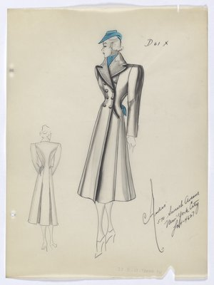 Coat with Blue Hat; Scarf; and Handkerchief