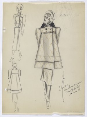 High-Waisted Coat with Brown and Yellow Pattern