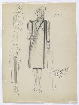 Coat with Diagonal Green Stripe