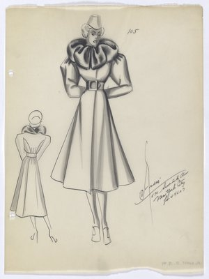 Coat with Cinched Waist and Fur Collar