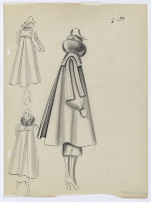 Coat with High; Round Collar and Long Back Vent