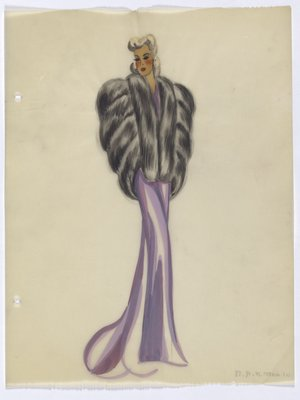 Fur Piece and Long Purple Evening Gown