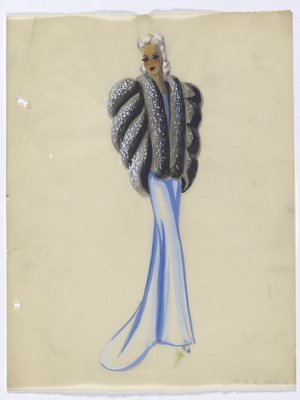 Fur Piece with White Spots over Long Blue Gown
