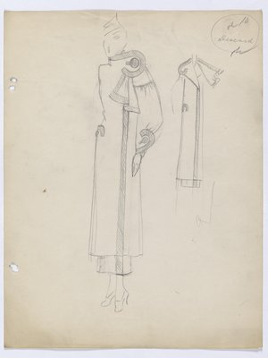 Coat with Fold-Over Closure and Oversized Button