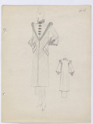 Coat with Triangular Yoke and Rectangular Buttons
