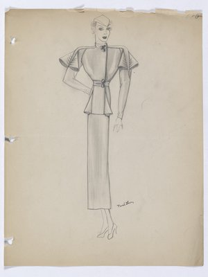 Coat with Raglan Sleeves and Decorative Folds