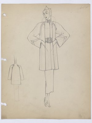 Coat with Hidden Pockets and Raglan Sleeves