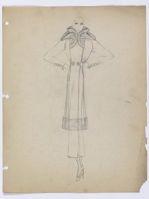 Knee-Length Coat with Fur Trim