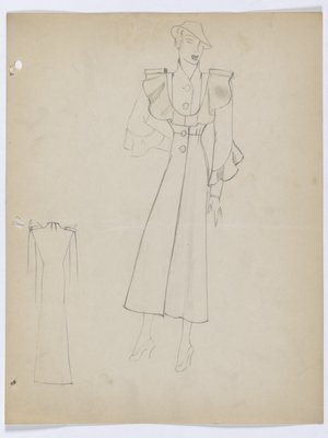 Coat with Ruffle Across Bodice and Lower Sleeves