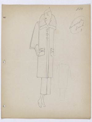 Coat with High Collar and Large; Round Buttons