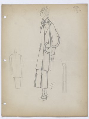 Coat with Round Buttons and Skirt with Inverted Pleats