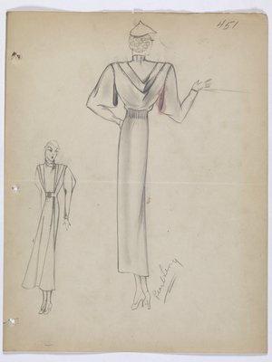 Coat with Draped Folds at Back and under Sleeves