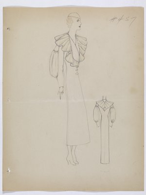 Coat with Ruffled Collar and Fullness at Elbow