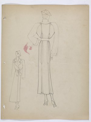 Coat with Raglan Sleeves and Pleats on Skirt