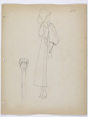 Coat with High Collar; Full Sleeves; and Tapered Cuff