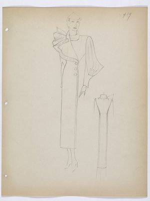 Coat with Asymmetrical Ruffle at Collar