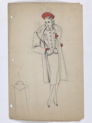 Coat and Suit with Red Hat; Handkerchief; and Gloves