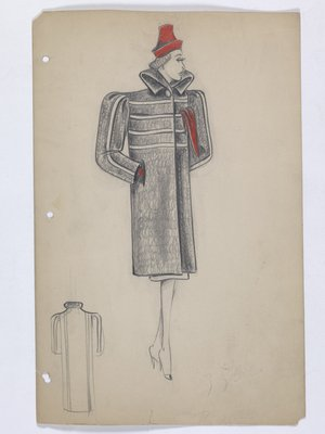 Boxy Coat with Red Hat; Handkerchief; and Gloves