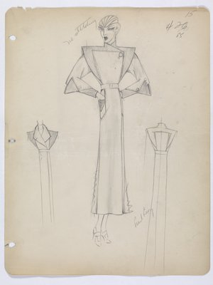 Coat with Pointed Shoulders and Points above Cuffs