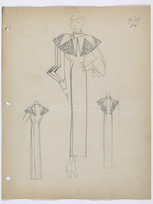 Coat with Wide Decorative Scarf and Folded Extensions on Sleeves