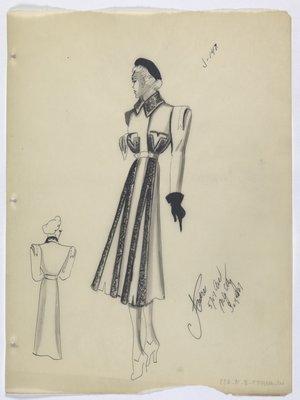 Coat with Four Dark Stripes Running down Skirt