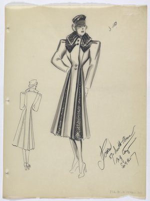 Coat with Dark Fabric on Collar and Inside Pleats