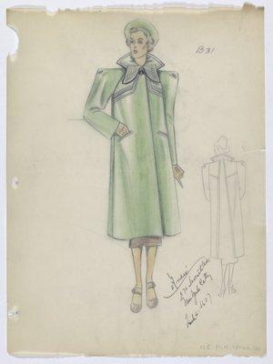 Green Coat with Wide Shoulders