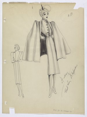 Fitted Suit with Wide-Shouldered Cape