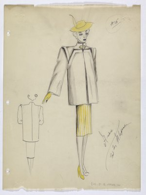 Short Coat with Yellow Hat; Glove; Skirt; and Shoe