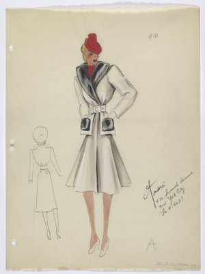 Coat with Fur Lapels and Pockets; Red Scarf and Hat