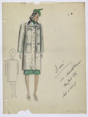 Coat with Green and White Spot Pattern