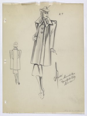 Coat with Large Round Buttons and Wide Shoulders