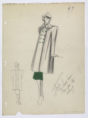 Coat with Green Buttons Worn over a Green Skirt