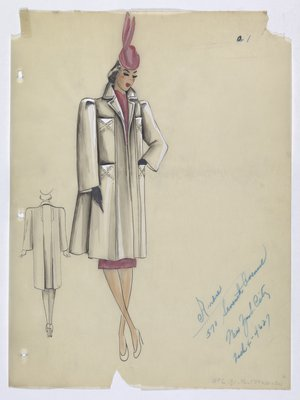 White Coat Worn with Pink Suit and Pink Hat