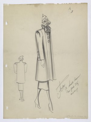 Coat with Wide Shoulders and Large Round Buttons