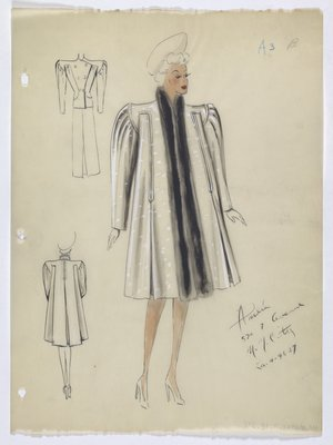 Coat with White Spots; Fur Trim; and Wide Shoulders